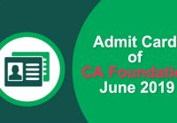 Admit Card of CA Foundation June 2019
